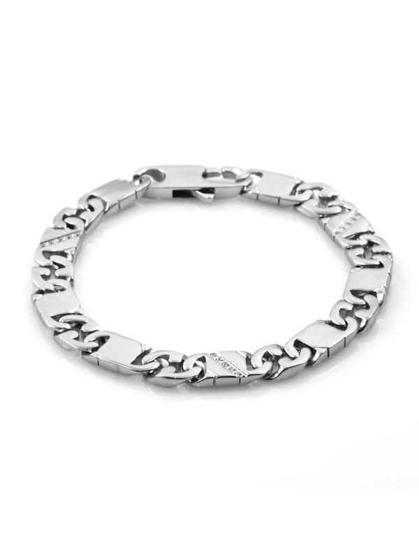 bracciale unisex in acciaio e strass