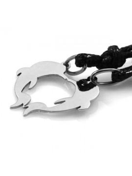 collana con delfini a forma di cuore che si spezzano in acciaio
