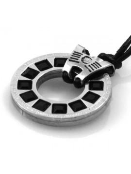 collana con segni zodiacali in acciaio e strass neri e laccetto