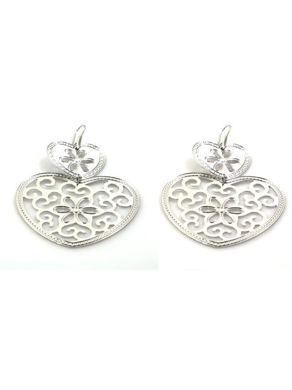 orecchini a forma di cuore in bronzo argentato
