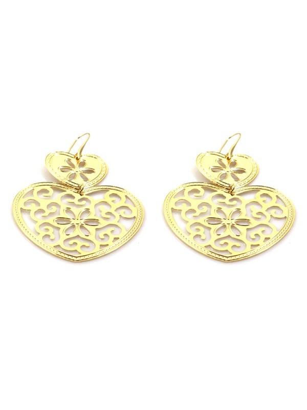 orecchini a forma di cuore in bronzo dorato