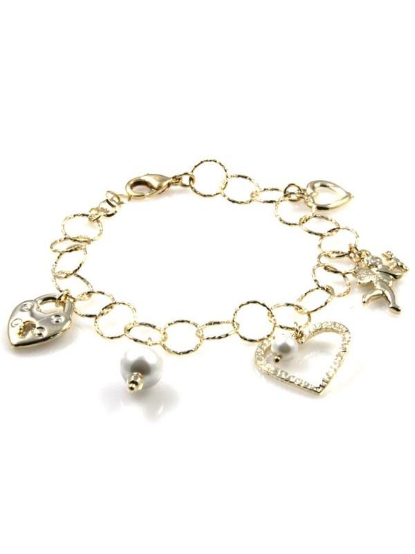 bracciale con ciondoli pendenti donna in bronzo dorato