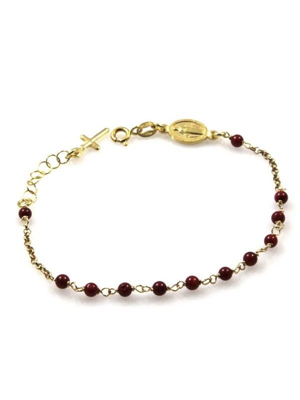 bracciale rosario in argento dorato postine rosse