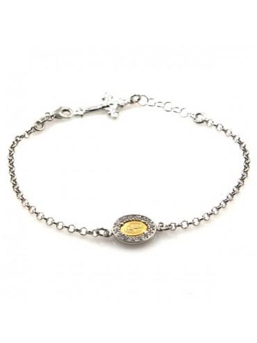 bracciale con medaglia miracolosa in argento