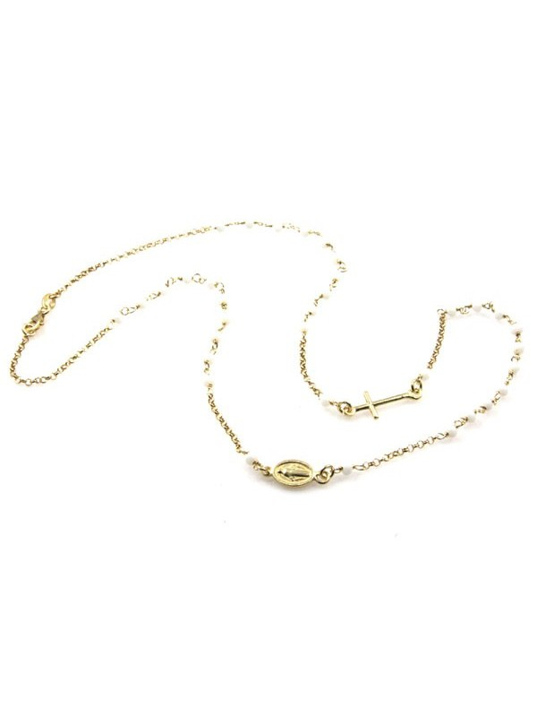collana rosario in argento dorato postine bianche