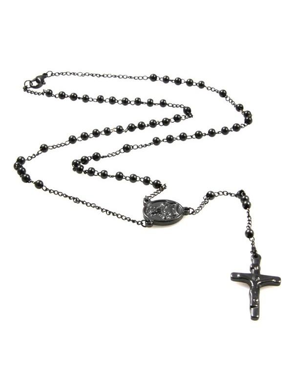 collana rosario in acciaio brunito