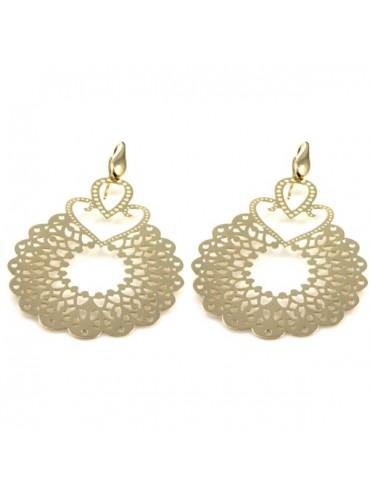 orecchini pendenti in bronzo dorato donna