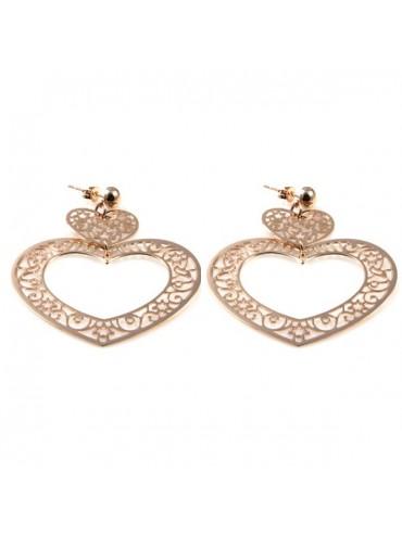 orecchini pendenti a cuore in bronzo ramato donna