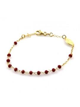 bracciale rosario dorato in argento con postine rosse