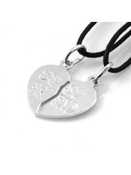 collana cuore che si spezza in argento scritta best friends