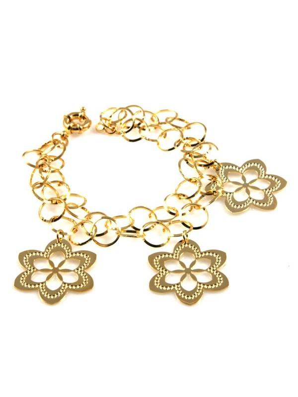 bracciale donna in bronzo dorato con ciondoli