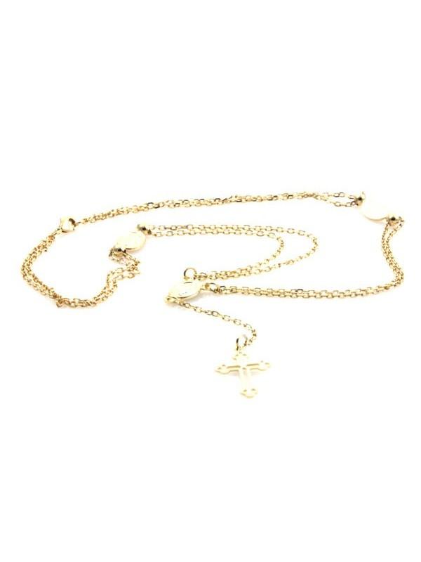 Collana dorata con medaglie miracolose e croce