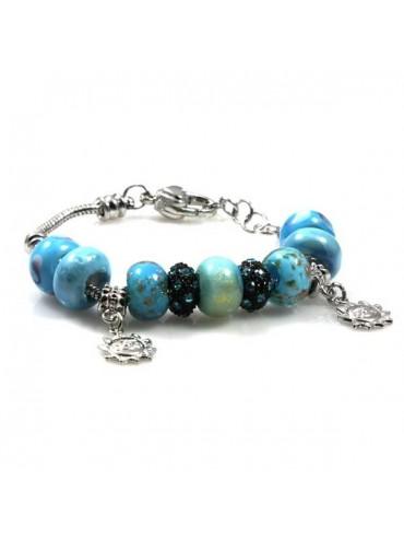 Bracciale donna con charms e beads scorrevoli colorati