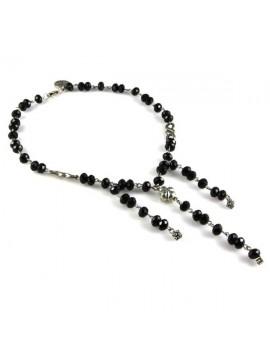 collana con cristalli neri sfaccettati opale linea alta bigiotteria