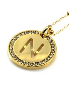 collana con lettera iniziale n in bronzo dorato e strass a cerchio