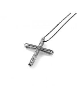 collana con ciondolo pendente croce in argento e strass