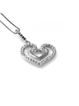 collana con ciondolo pendente cuore in argento e strass