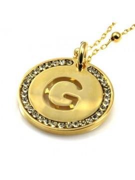 collana con lettera iniziale g in bronzo dorato e strass a cerchio