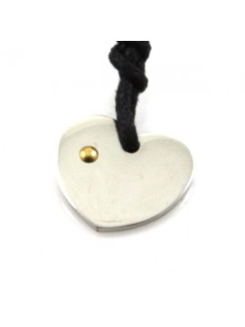 Collana cuore in acciaio e punto in oro