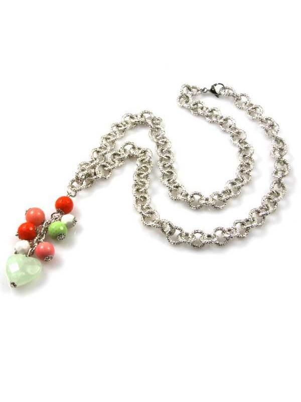 Collana con pendente in pietre dure catena in bronzo argentato