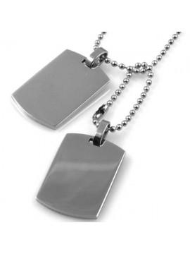 Collana piastra militare in acciaio ottima da incidere