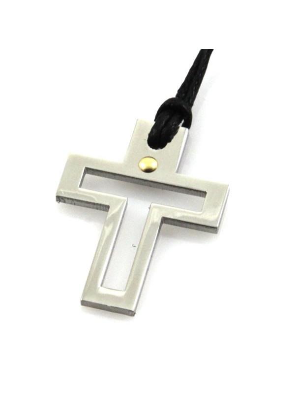 Collana croce in acciaio e punto in oro
