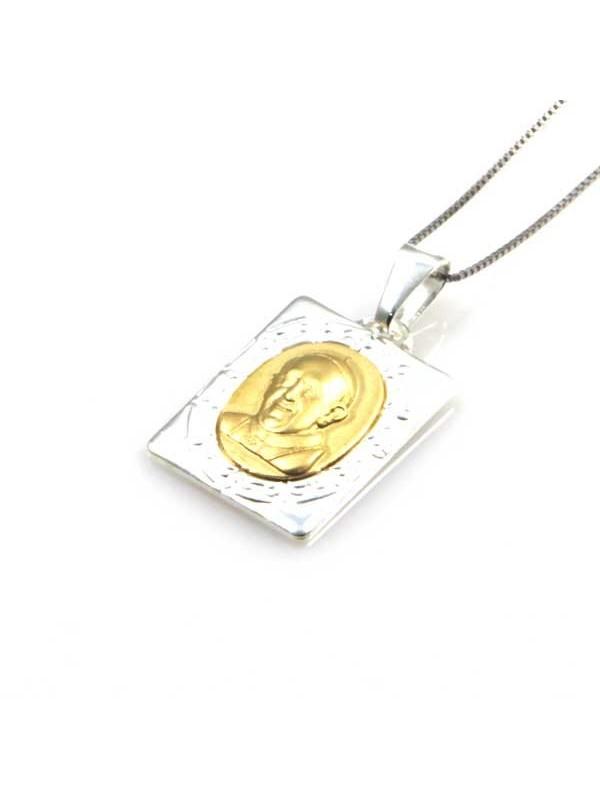 collana con medaglia di papa francesco in argento 925