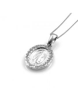 collana con medaglia miracolosa in argento 925 e strass