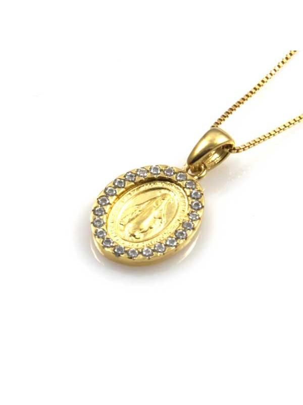 collana con medaglia miracolosa in argento 925 dorata e strass