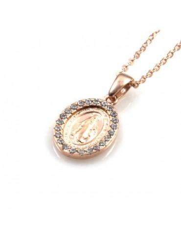 collana con medaglia miracolosa in argento 925 ramata e strass