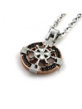 collana con timone in acciaio ciondolo pendente