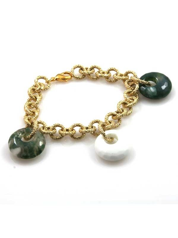 bracciale in pietre dure donna catena in alluminio dorata