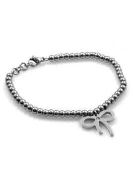 bracciale in acciaio da donna con pendente fiocco