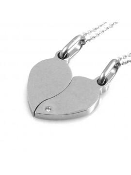 Collana con cuore che si spezza o divide personalizzabile con incisione in acciaio catenine da cm 50 H mm 24 L mm 23