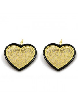 orecchini a forma di cuore in bronzo e resina pendenti