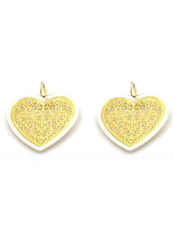orecchini a forma di cuore in bronzo e resina pendneti