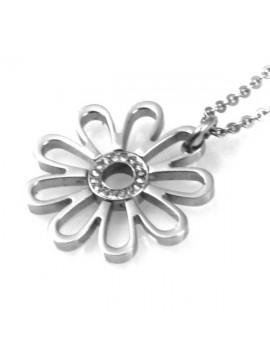 collana con fiore in acciaio e strass ciondolo pendente