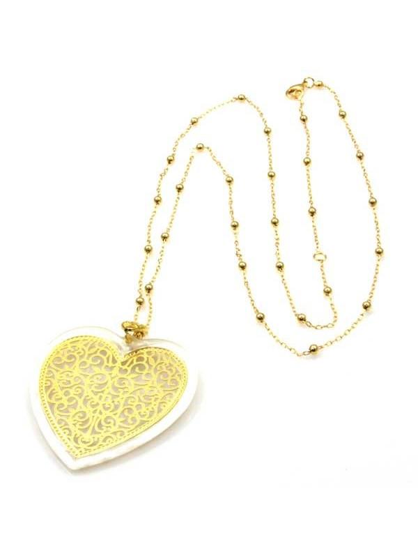 collana a cuore in bronzo dorato e resina
