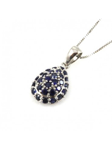 Collana a goccia in argento 925 con strass blu