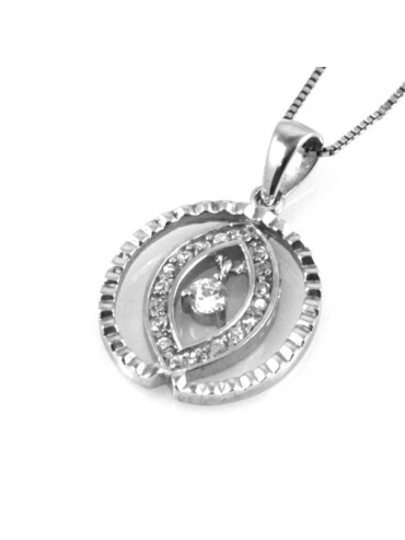 Collana ovale in argento 925 con strass
