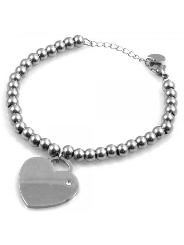taglia 40 vendita scontata nuovo stile di bracciale donna con cuore catena a palline sferiche in acciaio - bcc1686