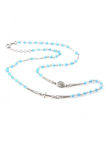 collana rosario in argento 925 postine celesti in cristallo sfaccettato