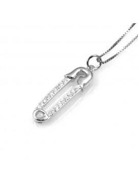 collana con spilla da balia fermaglio ciondolo pendente in argento 925