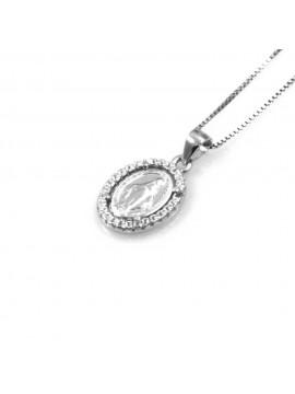 collana con medaglia miracolosa ciondolo pendente in argento 925
