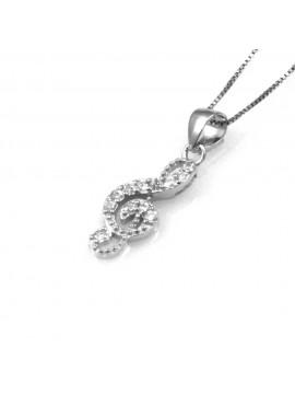 collana con chiave di violino ciondolo pendente in argento 925