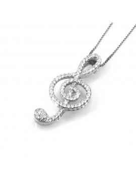collana con chiave di sol violino ciondolo pendente in argento 925