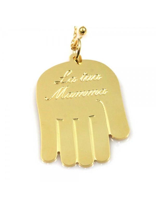 collana con mano scritta la tua mamma in bronzo dorato