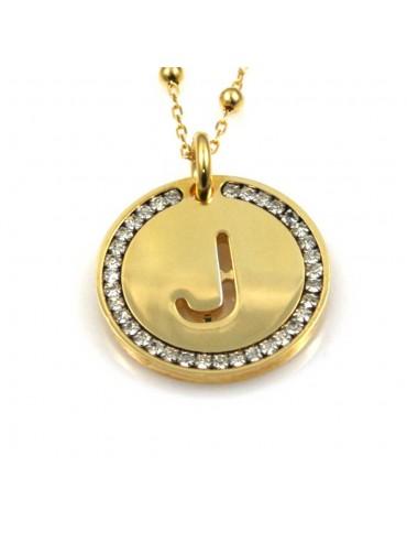 collana con lettera j iniziale ciondolo pendente in bronzo dorato