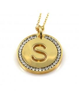 collana con lettera s iniziale ciondolo pendente in bronzo dorato