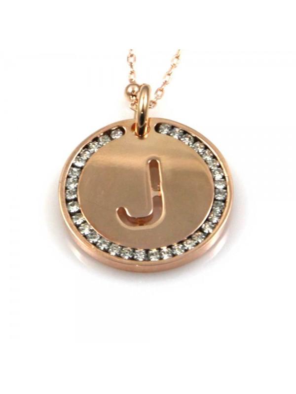 collana con lettera j iniziale ciondolo pendente in bronzo ramato